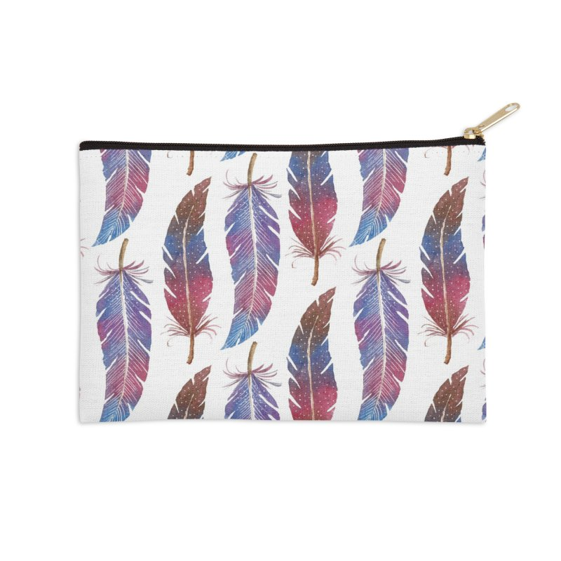 Feathers Pattern Accessories Zip Pouch by milenabdesign's Artist Shop