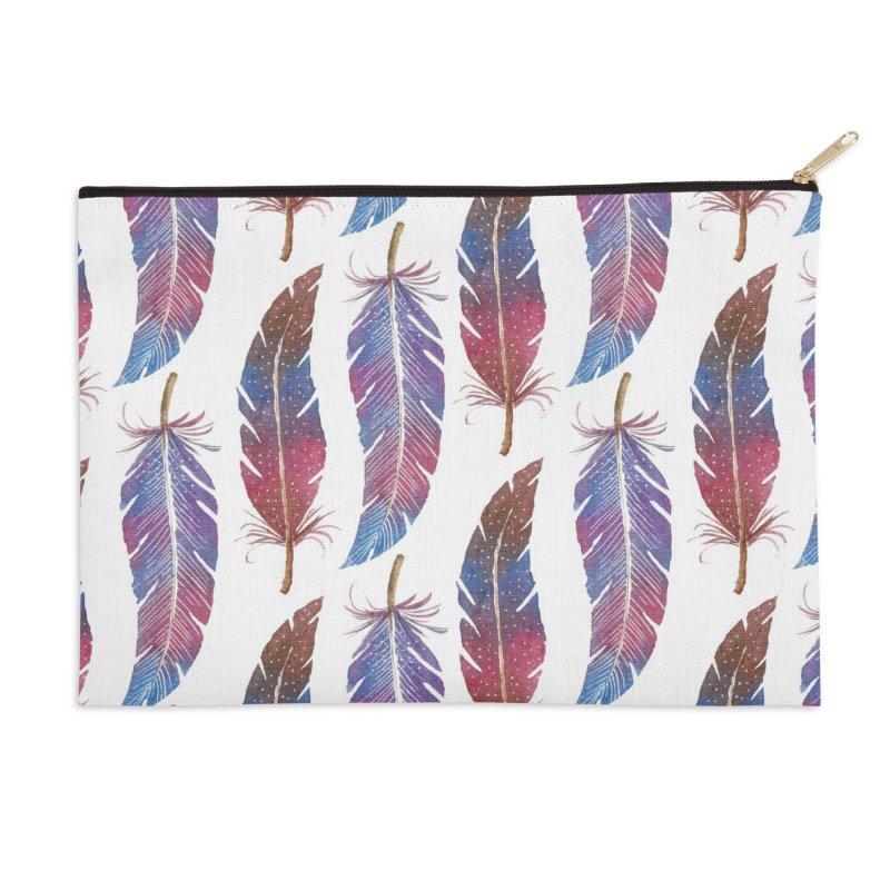 Feathers Pattern Accessories Zip Pouch by milenabdesign's Artist Shop