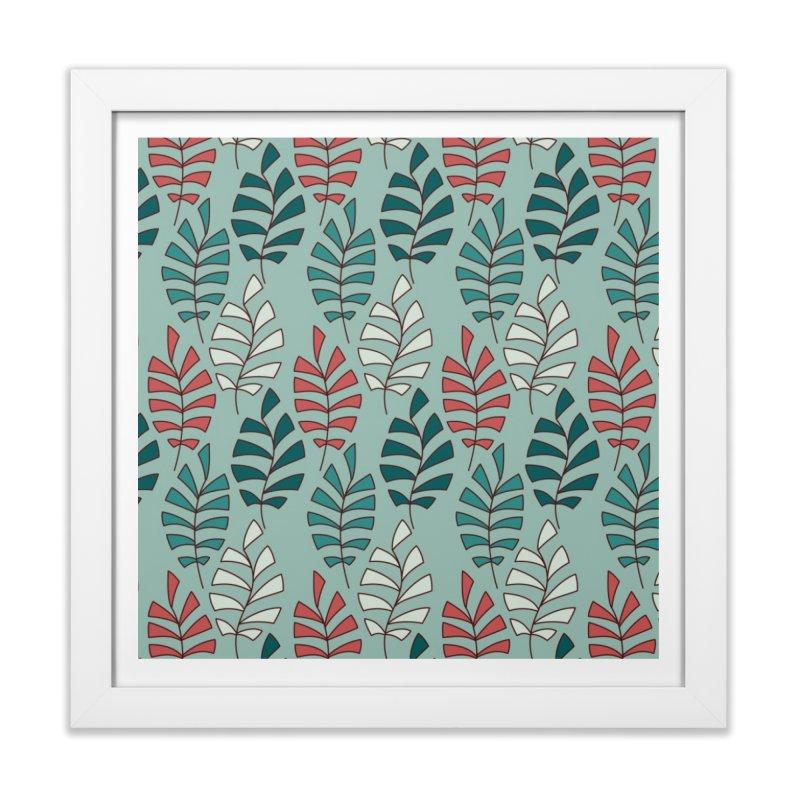 Paisley Leaves in Framed Fine Art Print White by milenabdesign's Artist Shop