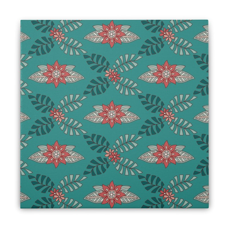 Paisley Floral Home Stretched Canvas by milenabdesign's Artist Shop
