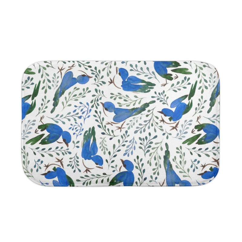 Birds in Summer Home Bath Mat by milenabdesign's Artist Shop