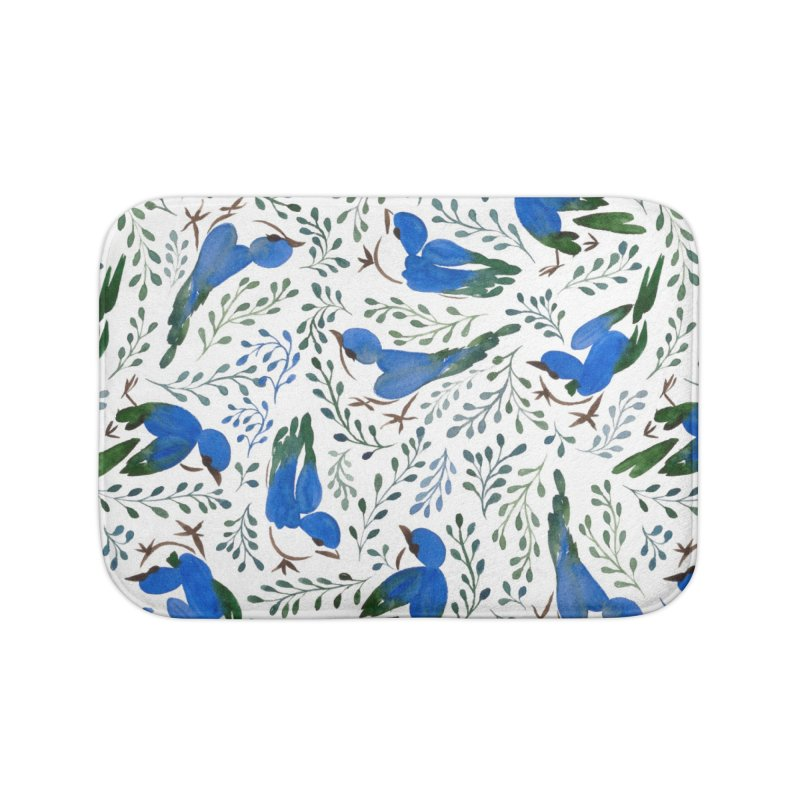 Birds in Summer Home Bath Mat by milenabdesign's Artist Shop