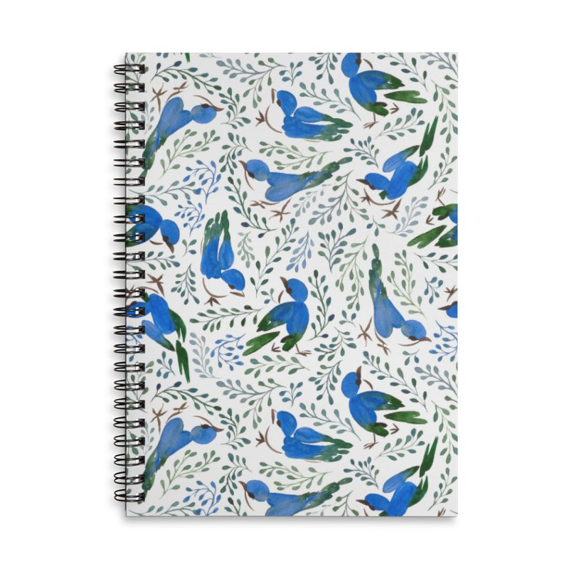 Birds in Summer Accessories Lined Spiral Notebook by milenabdesign's Artist Shop