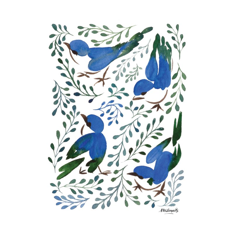 Birds in Summer Home Mounted Aluminum Print by milenabdesign's Artist Shop