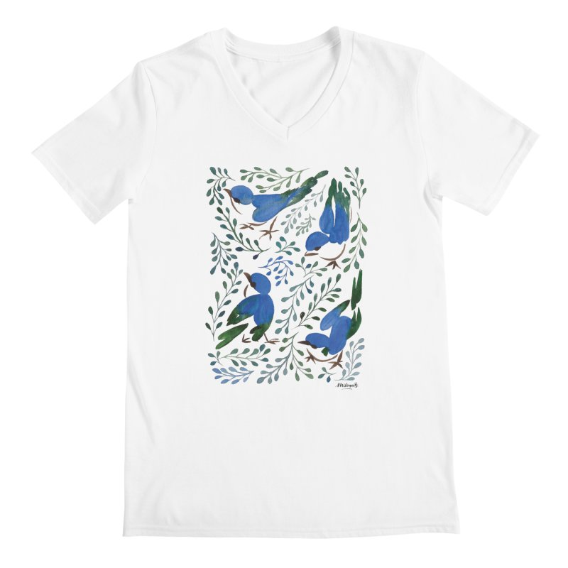 Birds in Summer Men's V-Neck by milenabdesign's Artist Shop