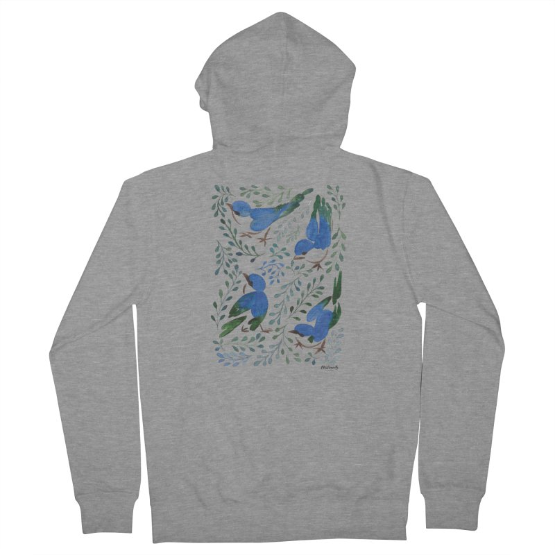 Birds in Summer Women's French Terry Zip-Up Hoody by milenabdesign's Artist Shop