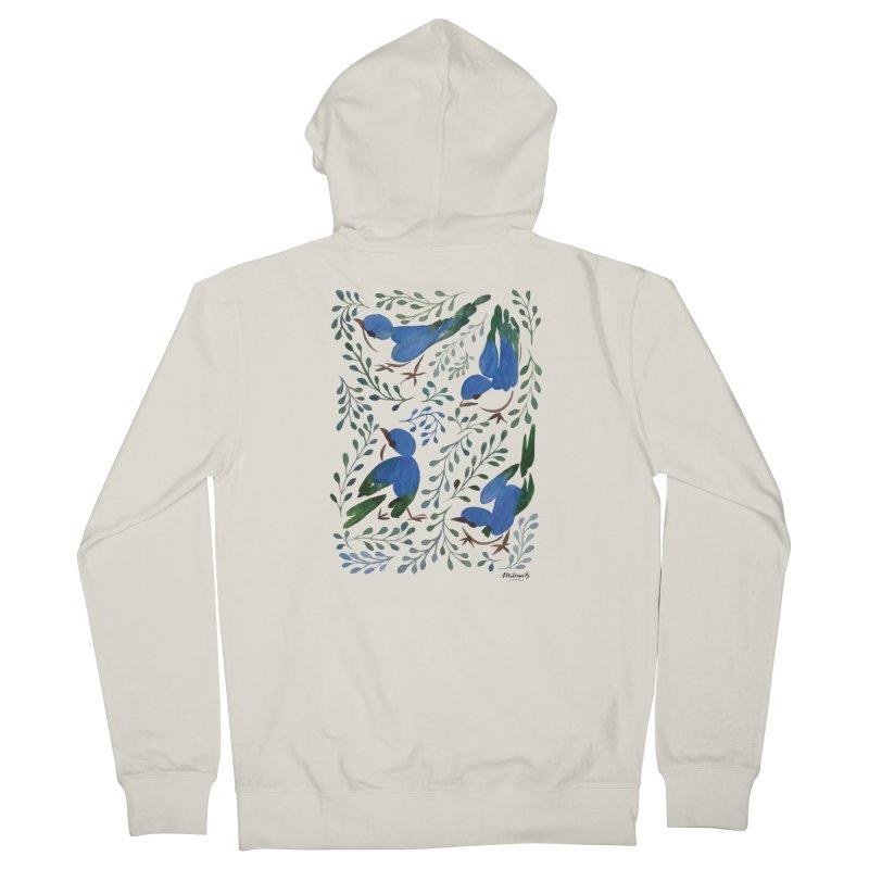 Birds in Summer Women's French Terry Zip-Up Hoody by milenabdesign's Artist Shop