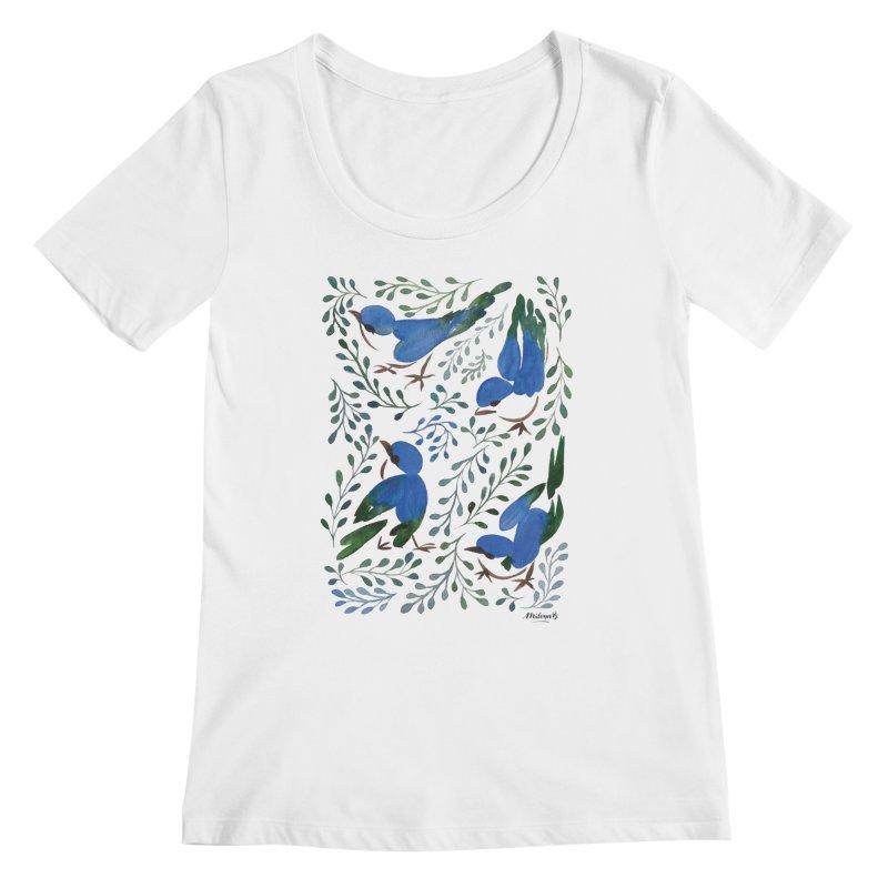 Birds in Summer Women's Regular Scoop Neck by milenabdesign's Artist Shop