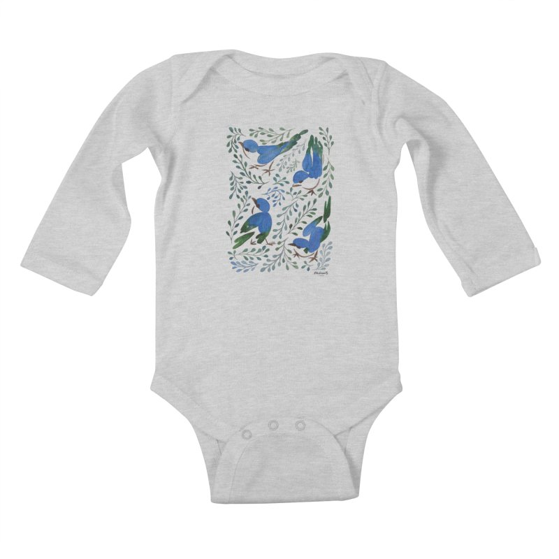 Birds in Summer Kids Baby Longsleeve Bodysuit by milenabdesign's Artist Shop