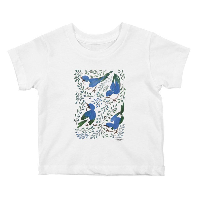 Birds in Summer Kids Baby T-Shirt by milenabdesign's Artist Shop
