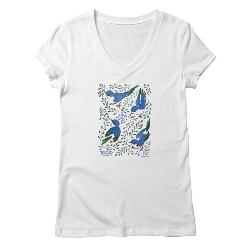 Birds in Summer Women's V-Neck by milenabdesign's Artist Shop