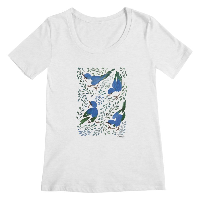 Birds in Summer Women's Regular Scoop Neck by milenabdesign's Artist Shop