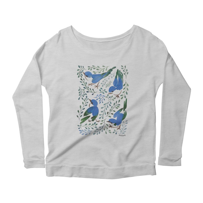 Birds in Summer Women's Scoop Neck Longsleeve T-Shirt by milenabdesign's Artist Shop