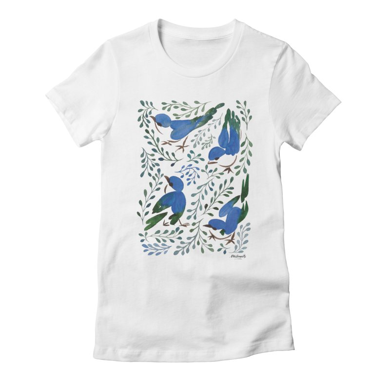 Birds in Summer Women's Fitted T-Shirt by milenabdesign's Artist Shop