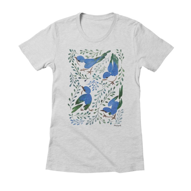 Birds in Summer Women's Fitted T-Shirt by milenabdesign's Artist Shop