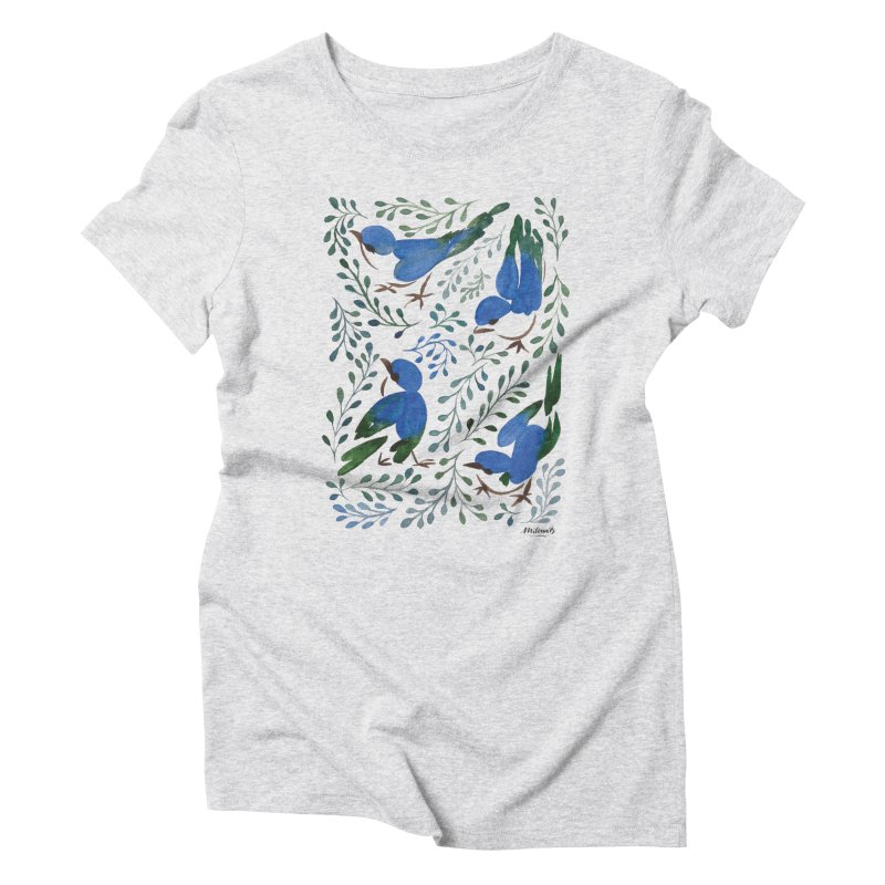 Birds in Summer in Women's Triblend T-Shirt Heather White by milenabdesign's Artist Shop