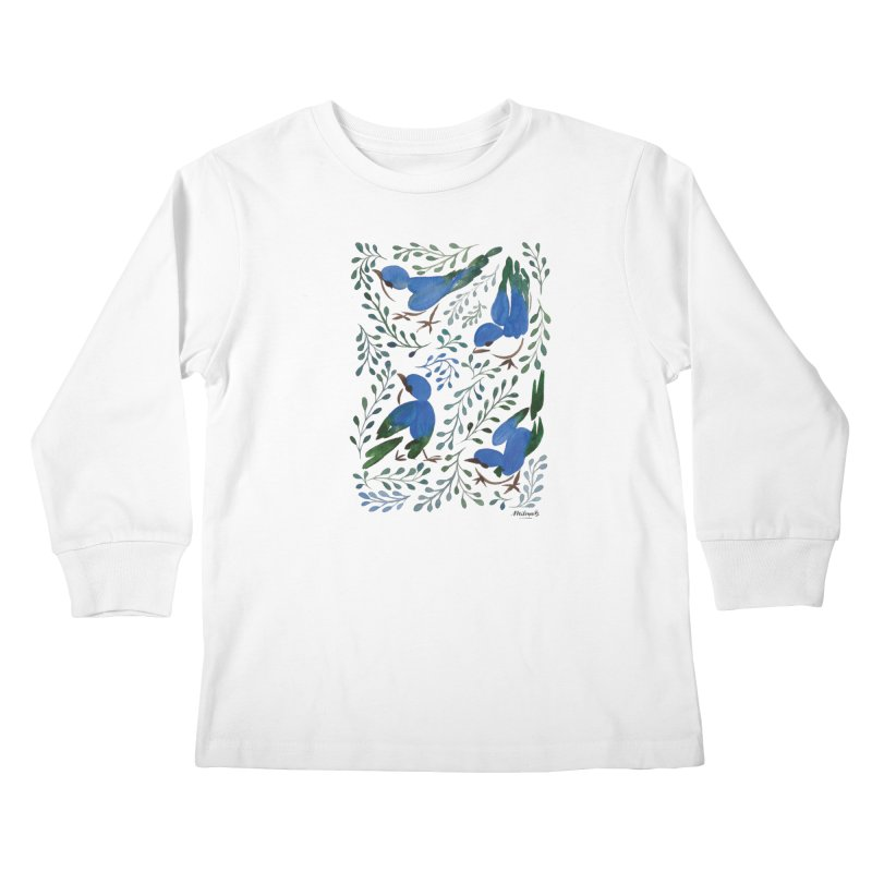 Birds in Summer Kids Longsleeve T-Shirt by milenabdesign's Artist Shop