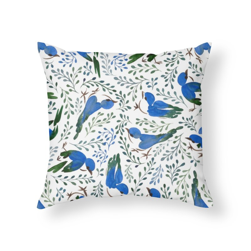 Birds in Summer Home Throw Pillow by milenabdesign's Artist Shop