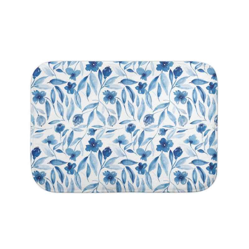 Prussian Floral Home Bath Mat by milenabdesign's Artist Shop