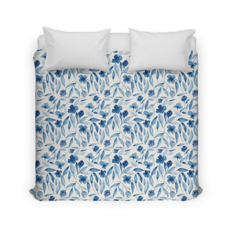 Prussian Floral Home Duvet by milenabdesign's Artist Shop