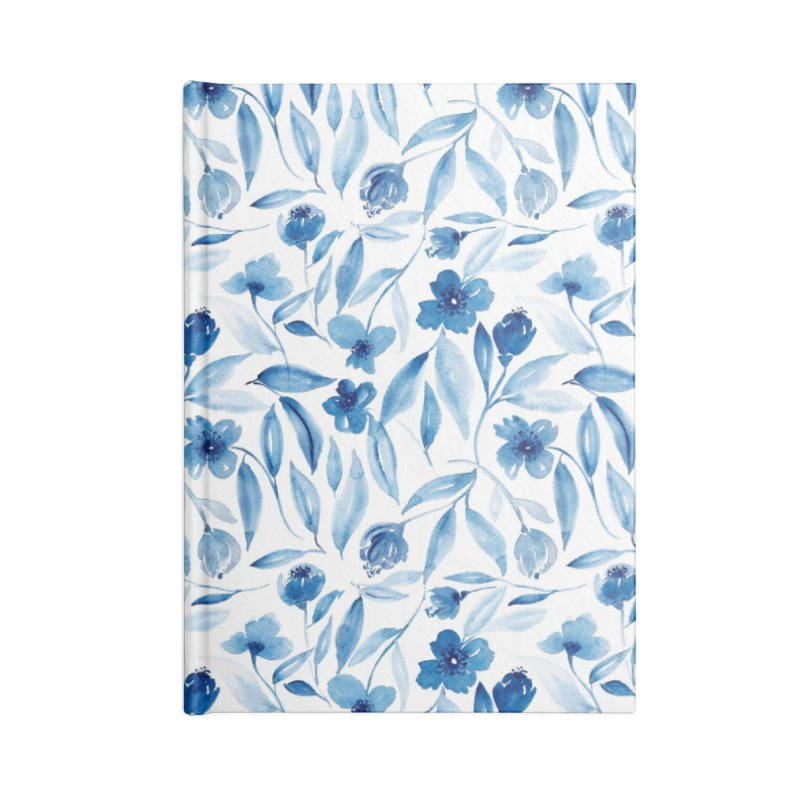 Prussian Floral Accessories Blank Journal Notebook by milenabdesign's Artist Shop