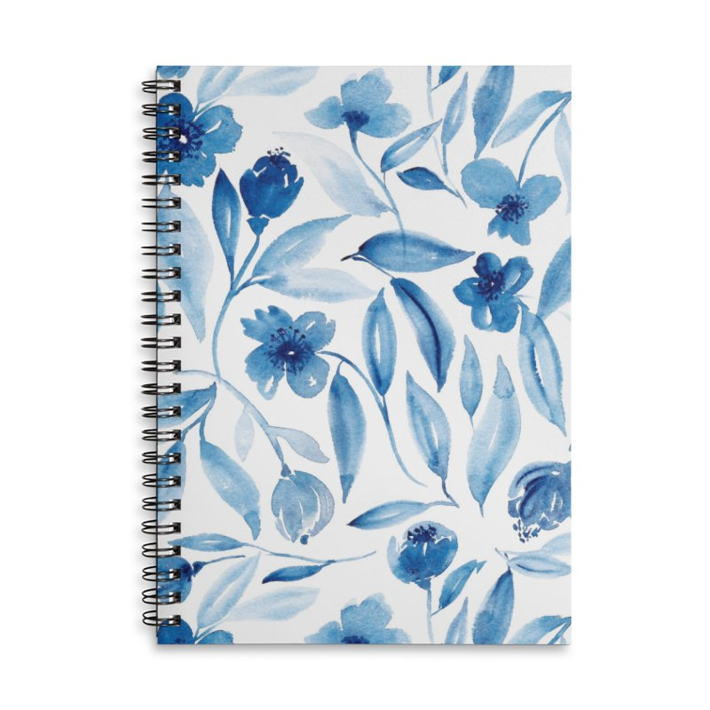 Prussian Floral Accessories Lined Spiral Notebook by milenabdesign's Artist Shop