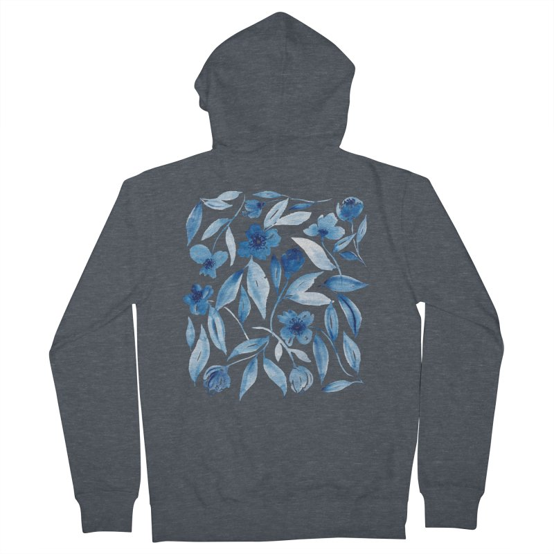 Prussian Floral Men's Zip-Up Hoody by milenabdesign's Artist Shop