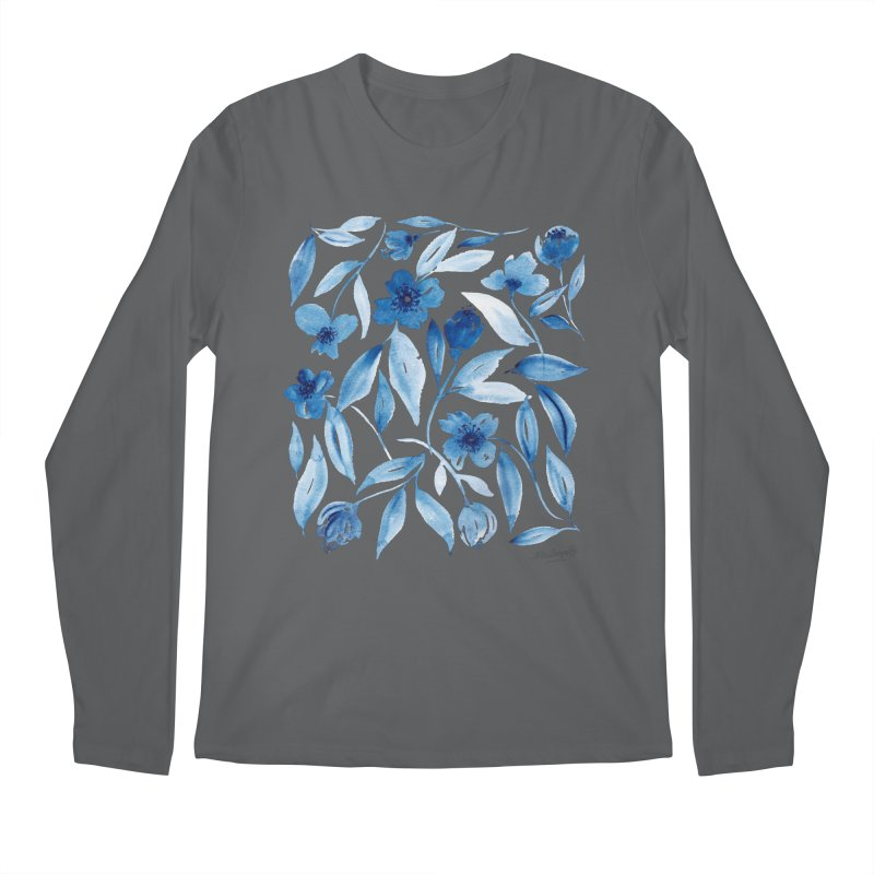 Prussian Floral Men's Longsleeve T-Shirt by milenabdesign's Artist Shop