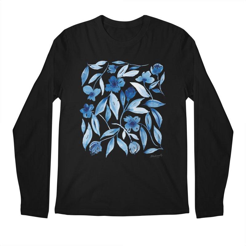 Prussian Floral Men's Longsleeve T-Shirt by milenabdesign's Artist Shop