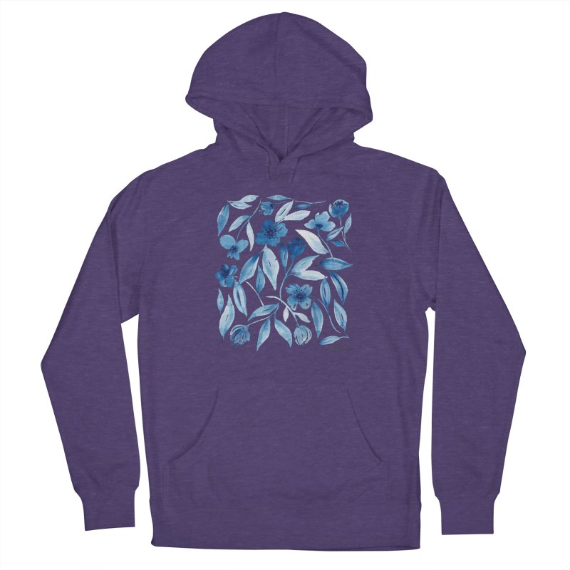 Prussian Floral Women's French Terry Pullover Hoody by milenabdesign's Artist Shop