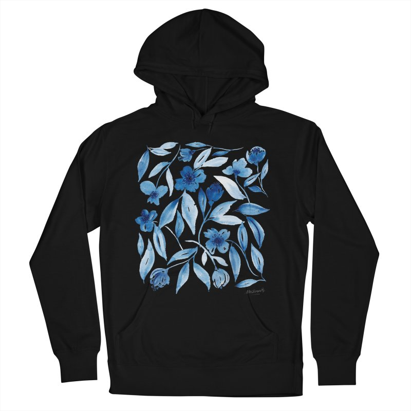 Prussian Floral Men's French Terry Pullover Hoody by milenabdesign's Artist Shop
