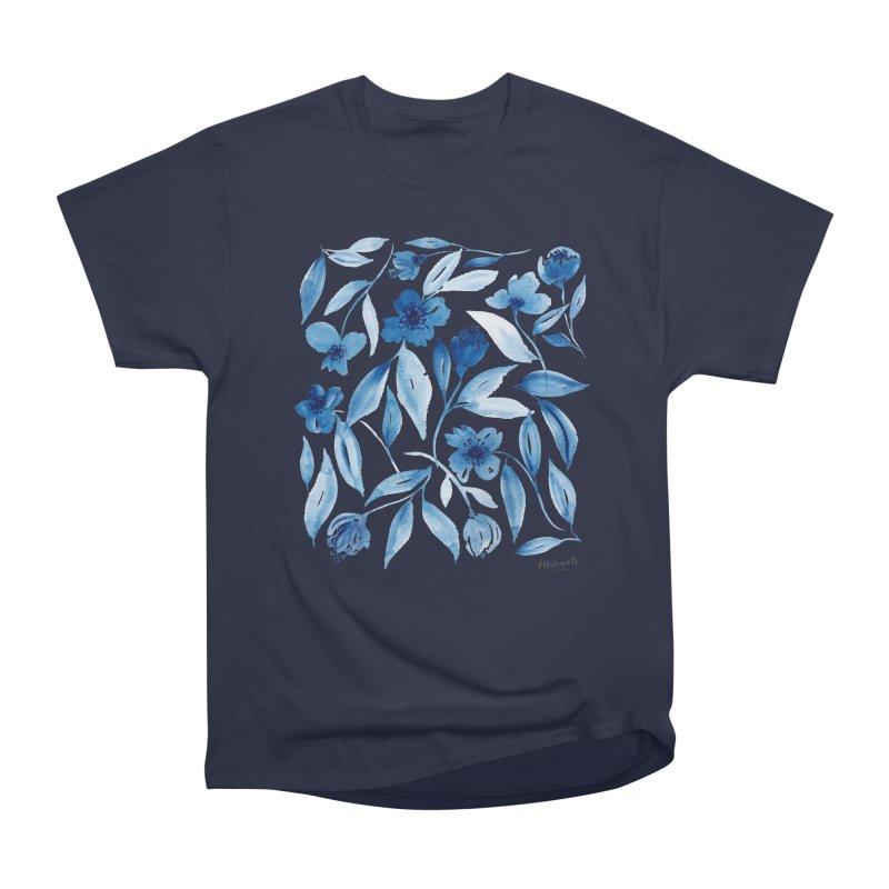 Prussian Floral Women's Heavyweight Unisex T-Shirt by milenabdesign's Artist Shop