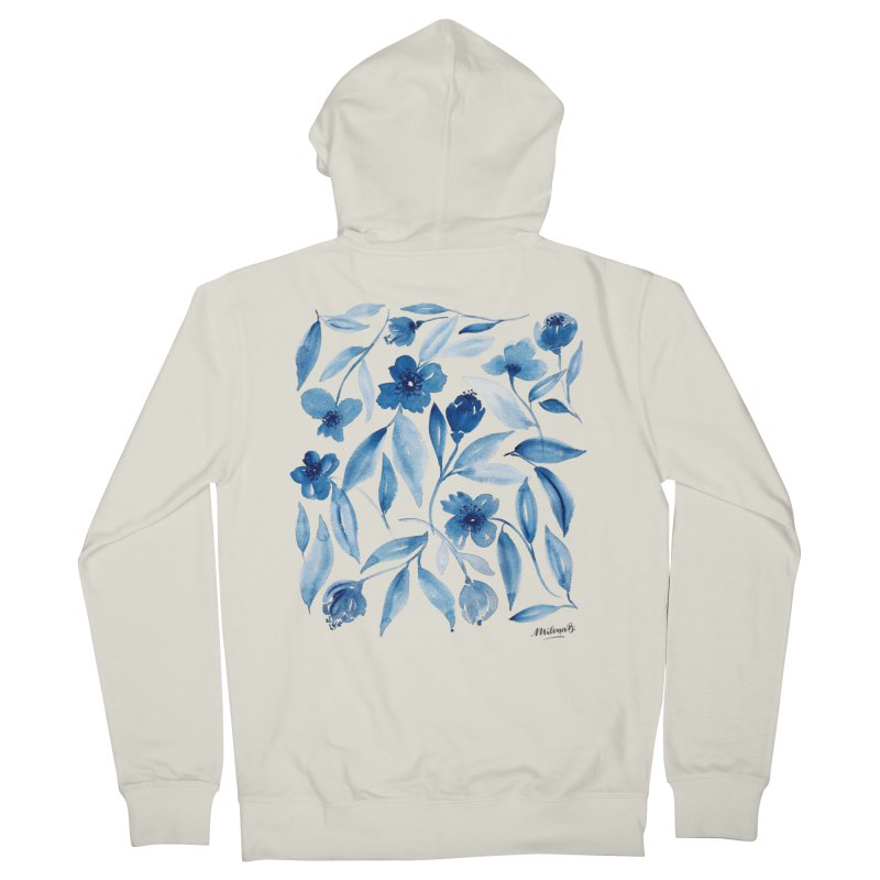 Prussian Floral Women's French Terry Zip-Up Hoody by milenabdesign's Artist Shop