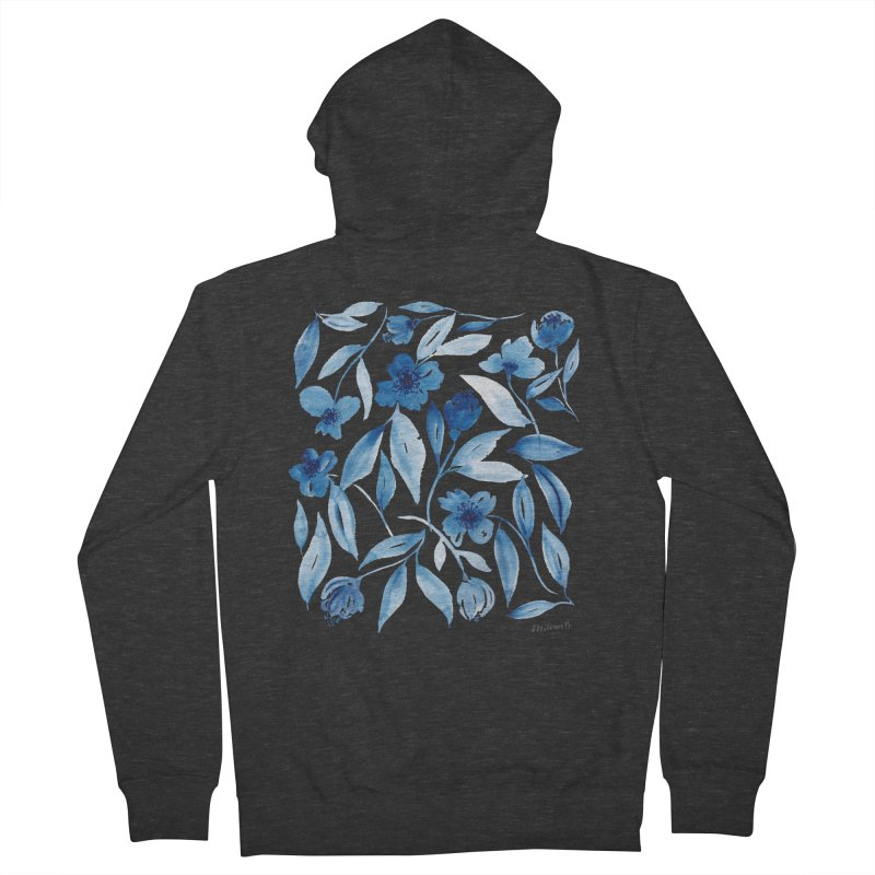 Prussian Floral Men's French Terry Zip-Up Hoody by milenabdesign's Artist Shop