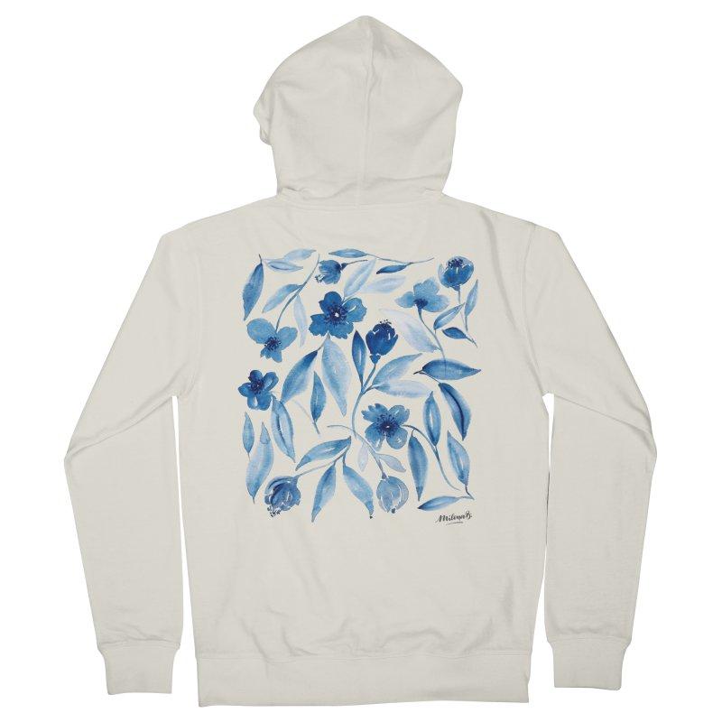 Prussian Floral Men's Zip-Up Hoody by milenabdesign's Artist Shop