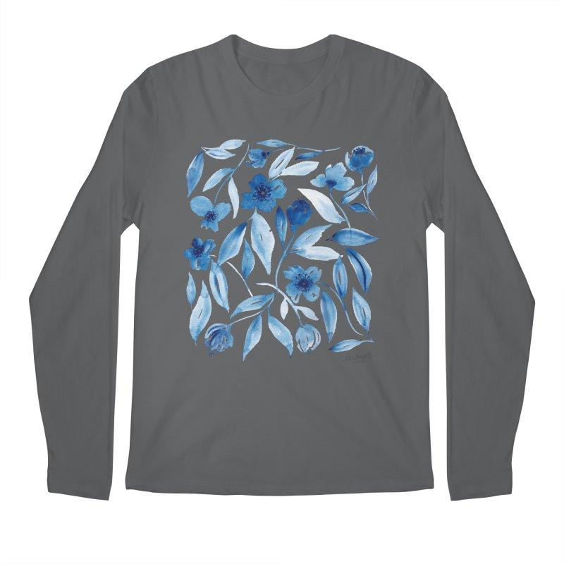 Prussian Floral Men's Regular Longsleeve T-Shirt by milenabdesign's Artist Shop