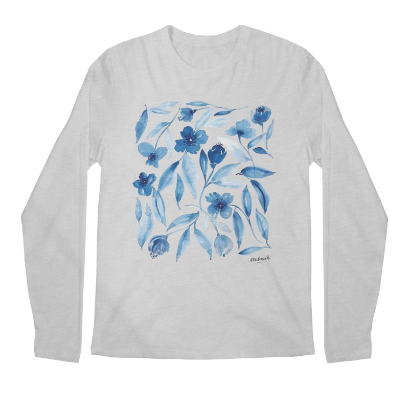 Prussian Floral Men's Regular Longsleeve T-Shirt by milenabdesign's Artist Shop