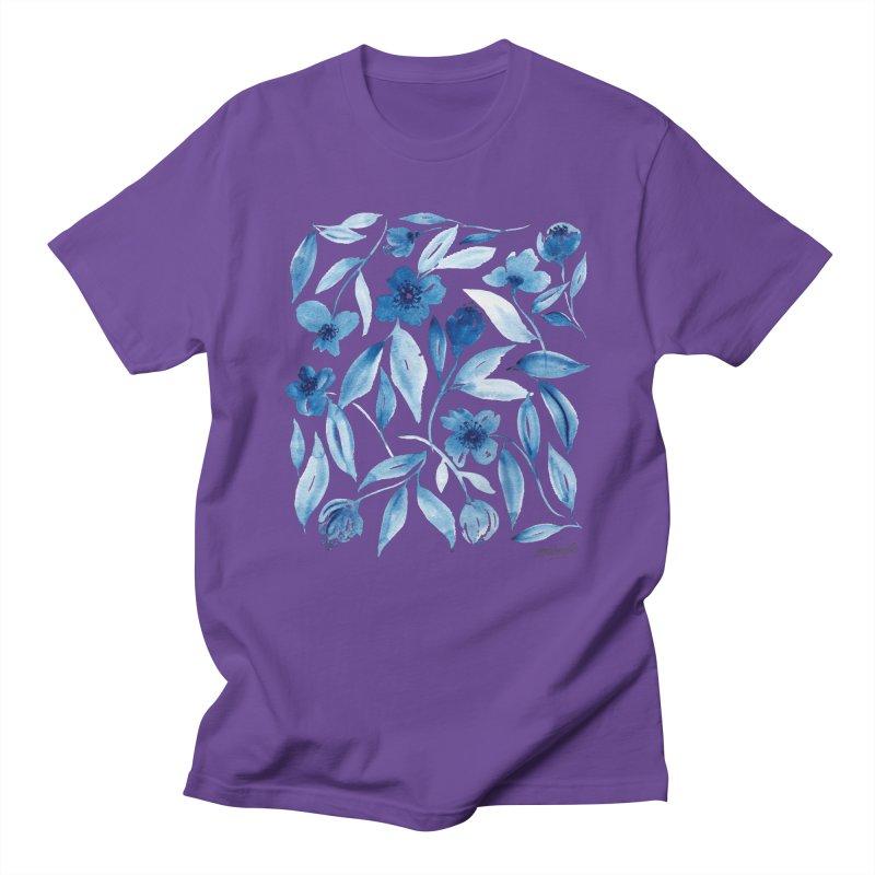Prussian Floral Women's Regular Unisex T-Shirt by milenabdesign's Artist Shop