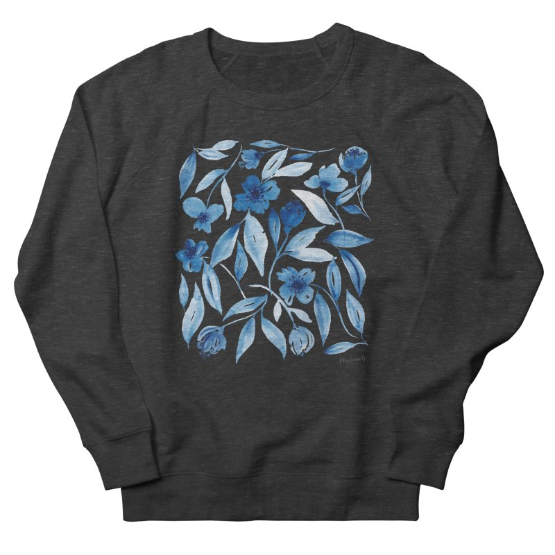 Prussian Floral Women's French Terry Sweatshirt by milenabdesign's Artist Shop