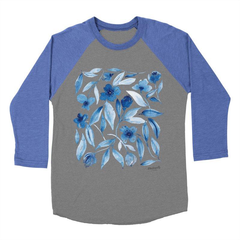 Prussian Floral Men's Baseball Triblend Longsleeve T-Shirt by milenabdesign's Artist Shop