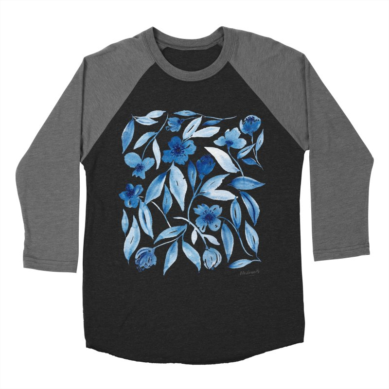 Prussian Floral Men's Baseball Triblend Longsleeve T-Shirt by milenabdesign's Artist Shop