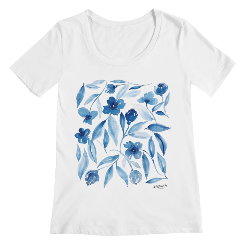 Prussian Floral Women's Regular Scoop Neck by milenabdesign's Artist Shop