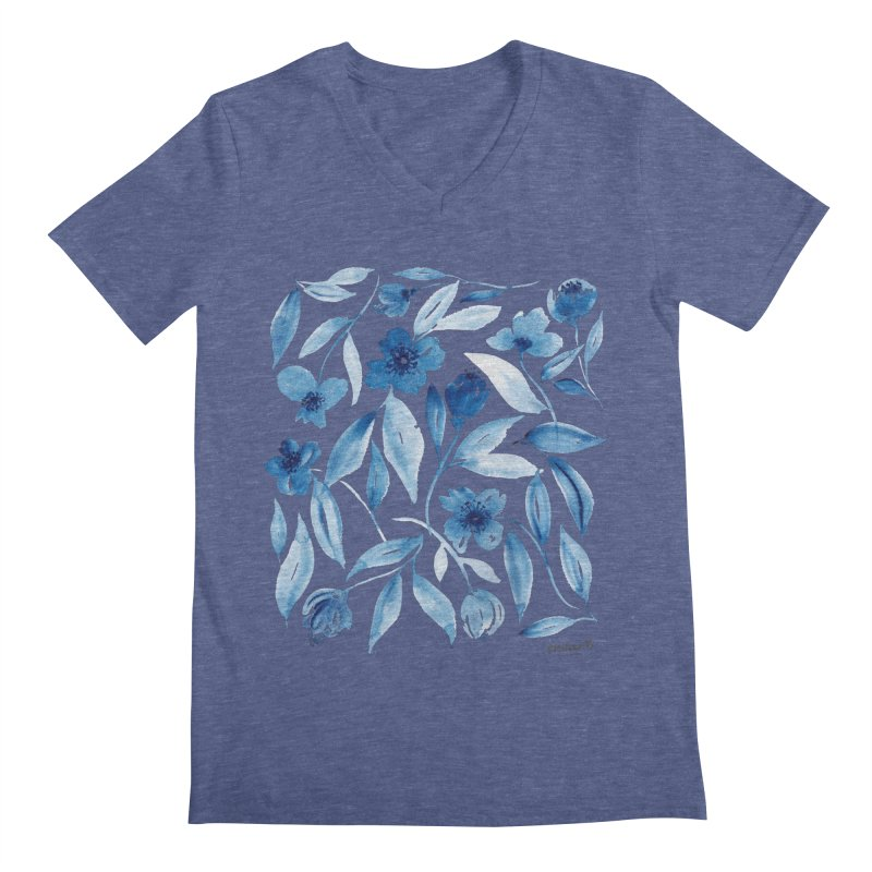 Prussian Floral Men's Regular V-Neck by milenabdesign's Artist Shop