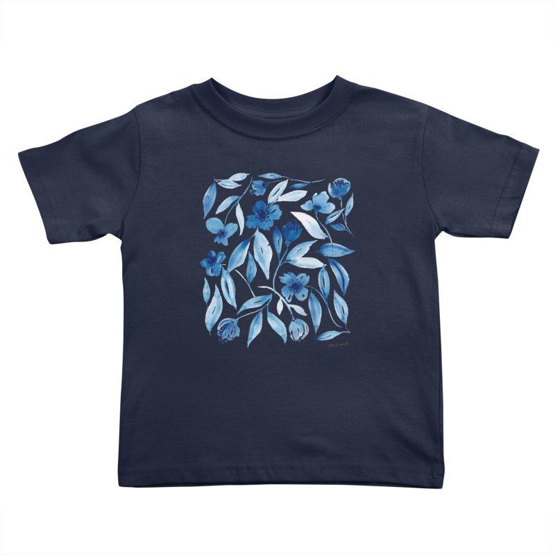 Prussian Floral Kids Toddler T-Shirt by milenabdesign's Artist Shop