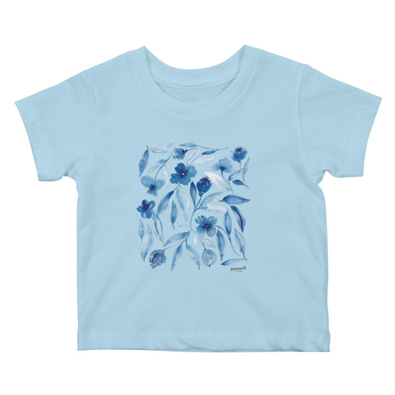 Prussian Floral Kids Baby T-Shirt by milenabdesign's Artist Shop