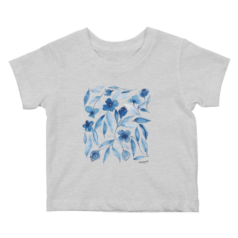 Prussian Floral Kids Baby T-Shirt by milenabdesign's Artist Shop