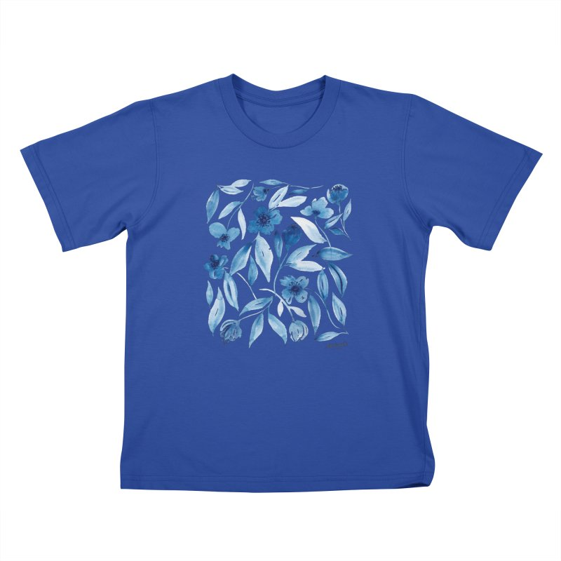 Prussian Floral Kids T-Shirt by milenabdesign's Artist Shop