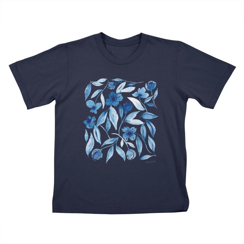 Prussian Floral Kids T-Shirt by milenabdesign's Artist Shop
