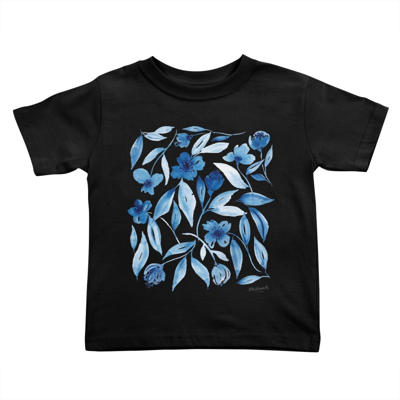Prussian Floral Kids Toddler T-Shirt by milenabdesign's Artist Shop