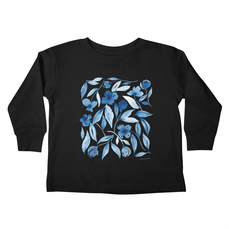 Prussian Floral Kids Toddler Longsleeve T-Shirt by milenabdesign's Artist Shop